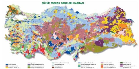 Türkiye Büyük Toprak Grupları Harita Resmi