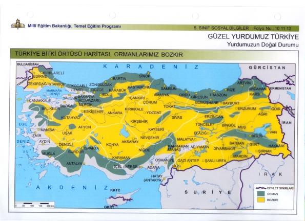 türkiye bitki örtüsü haritası