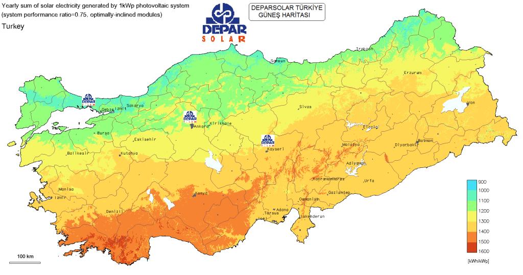 türkiye günes haritası