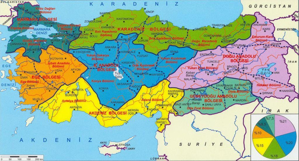 Ayrıntılı Türkiye Coğrafi Bölgeler Haritası