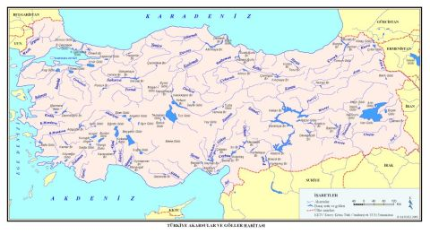 Türkiye'nin göl ve akarsu haritası