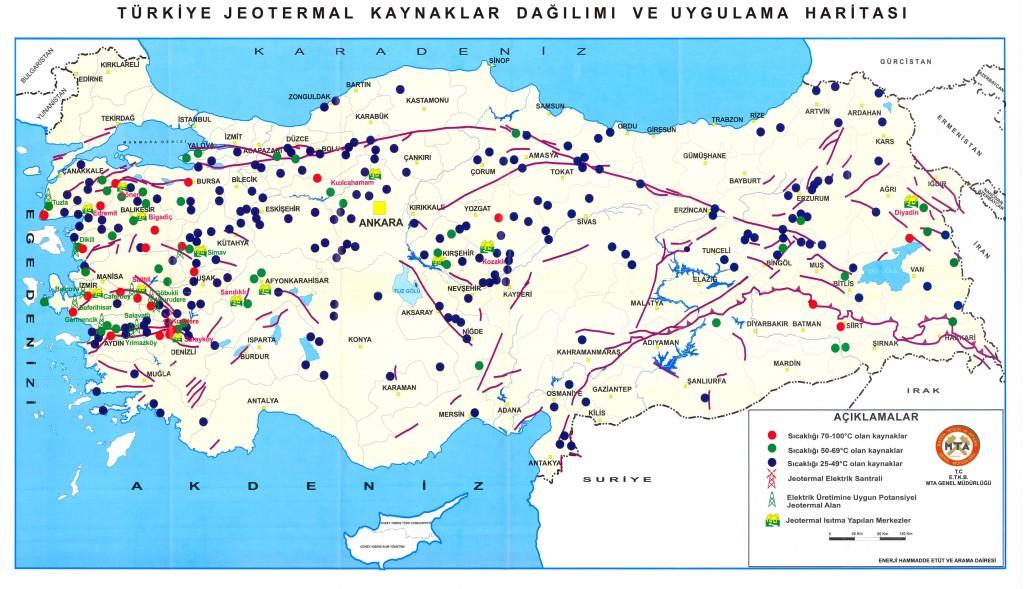 Jeotermal Kaynaklar Dağılım Haritası