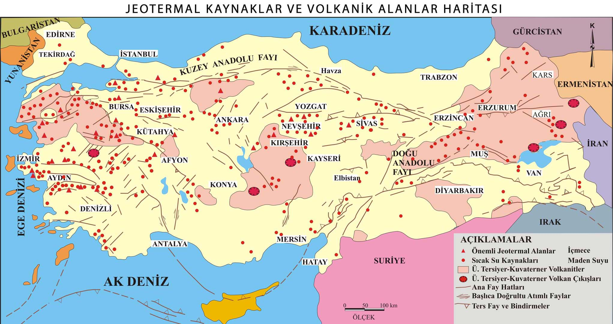 Jeotermal Kaynaklar ve  Volkanik Alanlar Haritası