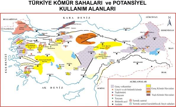 Türkiye Kömür Havzaları ve Potansiyel Uygulamaları Haritası