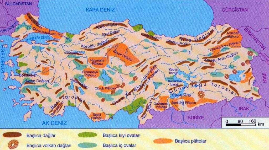 Türkiye ovalar ve platolar haritası