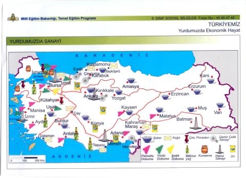 Türkiye sanayi coğrafyası harita
