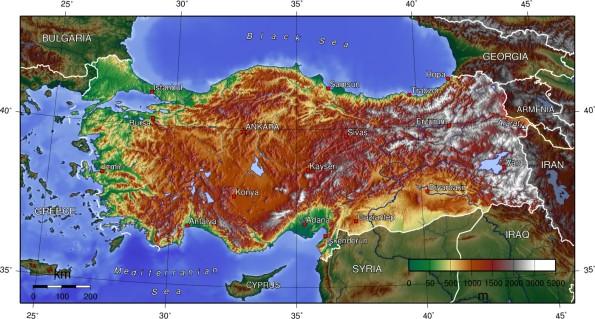 Türkiye  tapografya haritasi