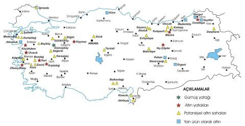 Türkiye altın ve gümüş haritası
