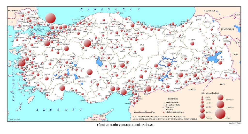 türkiye yerleşme haritası