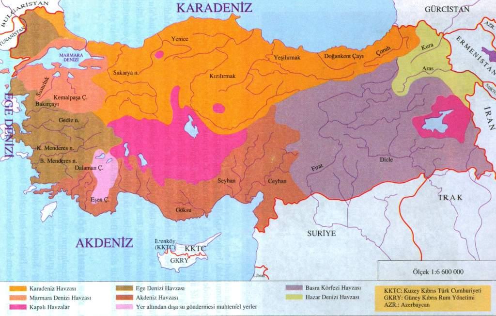 turkiyenin akarsu havzaları