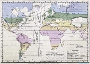 Humboldt'un çalışmalarına dayanılarak çizilmiş izotermal harita.